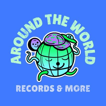 Logo Maker for a Record Store with a Cartoonish Globe Graphic 3683m