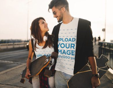 T-Shirt and Tank Top Mockup Featuring a Skater Couple 43431-r-el2