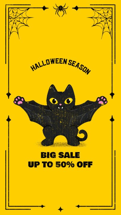 Instagram Story Generator for Special Halloween Offers Featuring a Vampire Cat Clipart 2965b
