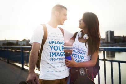 Tee and Tank Top Mockup Featuring a Happy Skater Couple by a River 43400-r-el2
