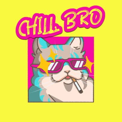 Twitch Emote Logo Generator of a Chilled Cat Smoking 3674j