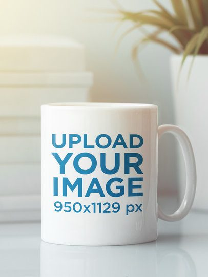 Mockup of a Customizable 11 oz Coffee Mug Placed on a Neat Table 43537-r-el2