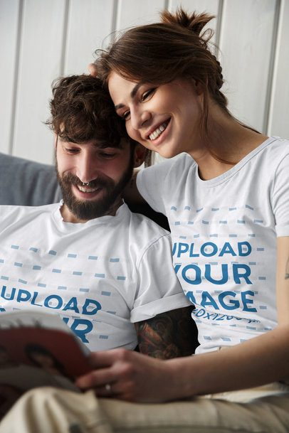 T-Shirt Mockup of a Couple Reading Together 43607-r-el2