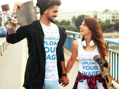 T-Shirt and Tank Top Mockup Featuring a Skater Couple Holding Hands 43342-r-el2