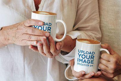 11 oz Coffee Mug Mockup Featuring Two Women Drinking Cappuccinos 43586-r-el2