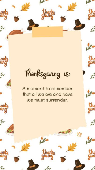 Instagram Story Template with a Cute Autumn Pattern and a Quote 2947e-el1