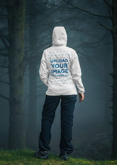 Back-View Hoodie Mockup of a Woman in a Rainy Forest 39050-r-el2