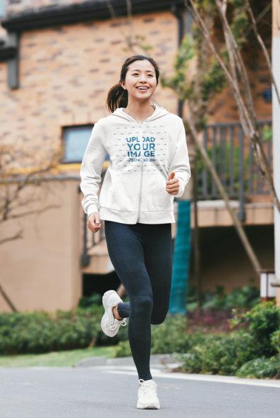 Mockup of a Woman Wearing a Full-Zip Hoodie to Run 40097-r-el2