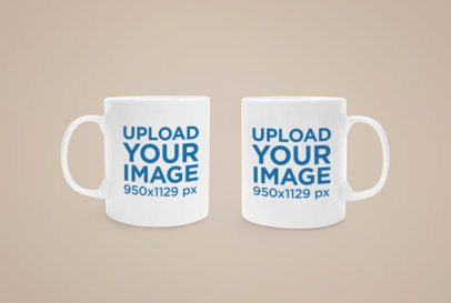 Mockup Featuring Two Customizable 11 oz Mugs Placed Against a Plain Color Backdrop 43528-r-el2