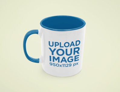 Mockup Featuring an 11 oz Mug With a Colored Rim Placed Against a Plain Background 43583-r-el2
