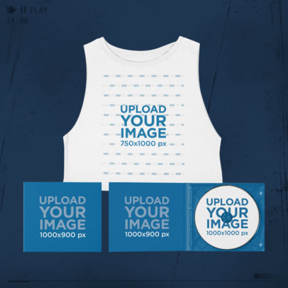 Merch Bundle Mockup Featuring a Sleeveless Crop Top and Digipaks 43409-r-el2