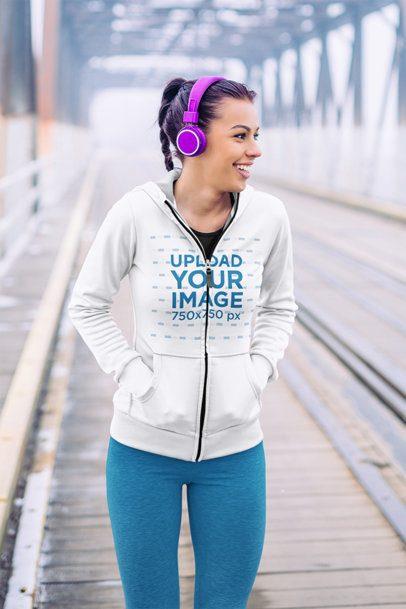 Mockup of a Woman with Purple Hair Wearing a Full-Zip Hoodie 41441-r-el2