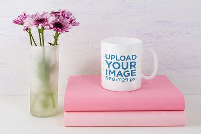 11 oz Coffee Mug Mockup Featuring a Vase With Pink Flowers 43566-r-e2