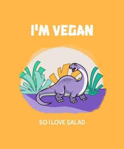Cartoonish T-Shirt Design Maker with a Vegan Dinosaur 2960e-el1