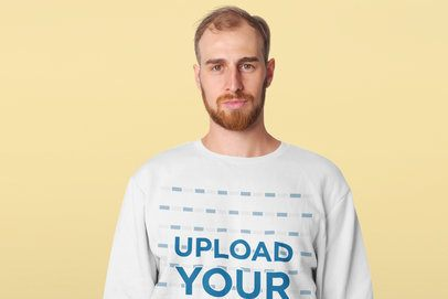 Crewneck Sweatshirt Mockup Featuring a Serious Man in a Studio 41747-r-el2