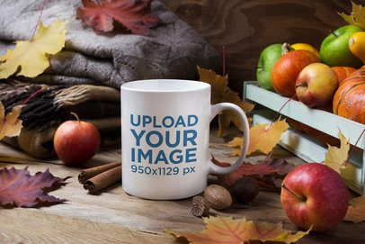 Coffee Mug Mockup Featuring Some Apples in a Fall Setting 43571-r-el2