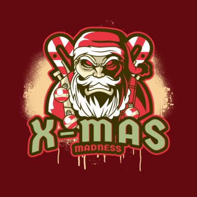 Logo Maker for a Gaming Channel Featuring a Scary Santa Claus Illustration 3711g