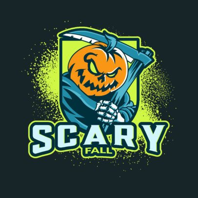 Illustrated Logo Creator Featuring a Scary Pumpkin Character 3711e