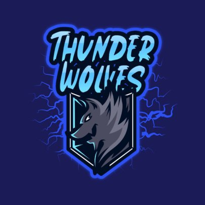 Free Logo Creator of a Wolf Surrounded by Thunders 3724m