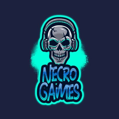 Free Logo Template for Gaming Streaming Channels Featuring an Evil Skull Graphic 3724u