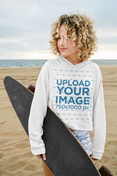 Mockup of a Skater with Curly Hair Wearing a Hoodie at the Beach 40799-r-el2
