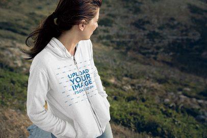 Full-Zip Hoodie Mockup of a Woman in Nature 35567-r-el2