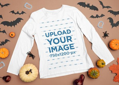 Mockup of a Long-Sleeve Tee Featuring Some Halloween Ornaments m73
