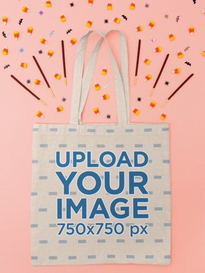 Tote Bag Mockup Featuring Halloween Candy m110