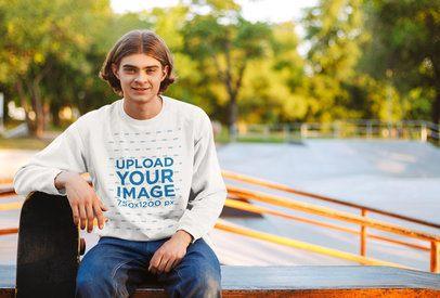 Crewneck Sweatshirt Mockup Featuring a Young Man at a Skatepark 40838-r-el2