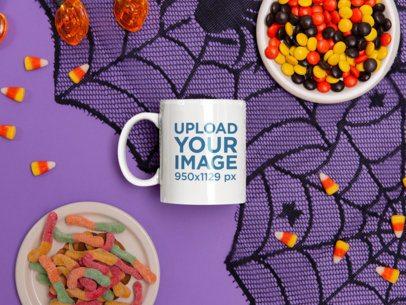 11 oz Mug Mockup Featuring Halloween Candies 120