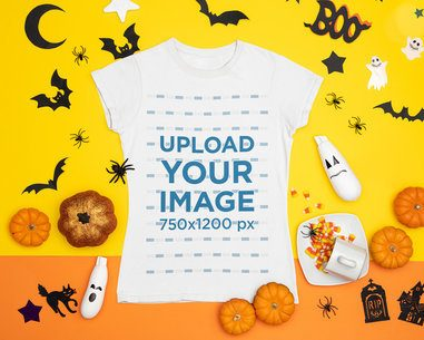 Halloween-Themed Mockup Featuring a T-Shirt Placed Among Spooky Decorations m96