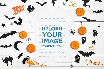 T-Shirt Mockup Featuring Spooky Halloween Decorations 95