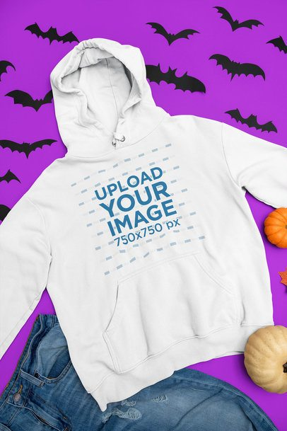 Flat-Lay Mockup of a Pullover Hoodie in a Halloween Setting m76