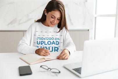 Sweatshirt Mockup Featuring a Smiling Woman Working From Home 41827-r-el2