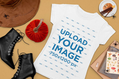 Halloween Mockup of a Flat Laid Tee Featuring Witch Costume Items 103