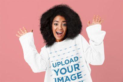 Mockup of a Woman Wearing an Oversized Sweatshirt in a Studio 35497-r-el2