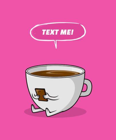 T-Shirt Design Generator Featuring an Impatient Coffee Cup Cartoon 3010a-el1