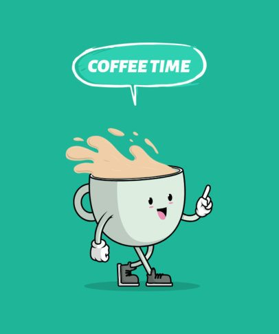 T-Shirt Design Template for Coffee Enthusiast Featuring a Happy Mug Illustration 3010e-el1