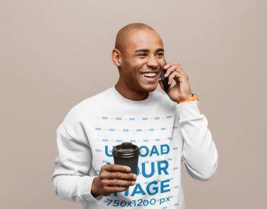 Studio Mockup of a Man Wearing a Sweatshirt and Talking on the Phone 40566-r-el2