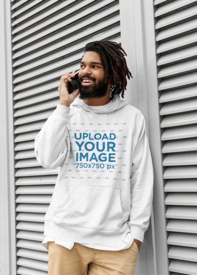 Hoodie Mockup of a Bearded Man Talking on the Phone 41720-r-el2