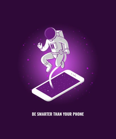 T-Shirt Design Template with a Metaphoric Illustration of an Astronaut 2990b-el1