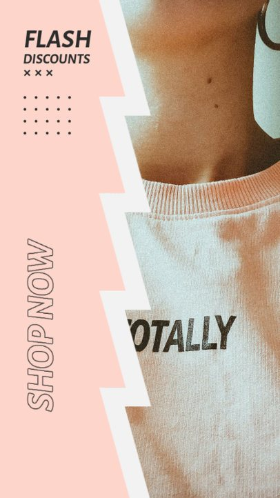 Clothing Brand Instagram Story Design Template for a Flash Sale Promo 2978e-el1