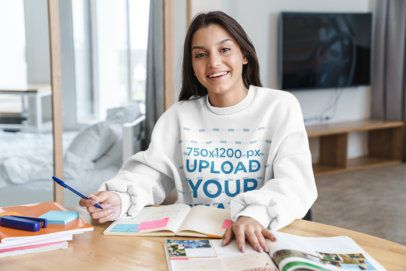 Sweatshirt Mockup Featuring a Young Happy Woman Studying at Home 40484-r-el2