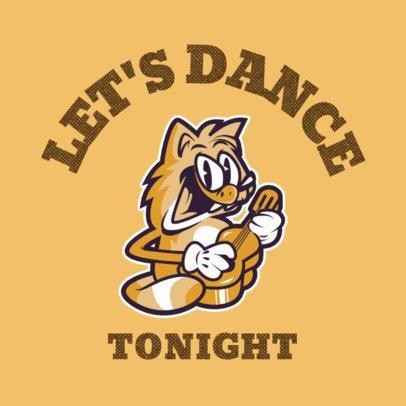 Music Logo Creator Featuring a Cartoonish Cat Playing Guitar 3735b