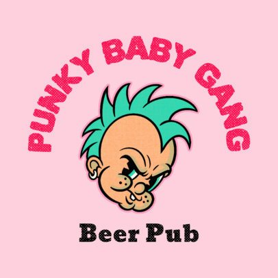 Online Logo Generator for a Pub Featuring a Punk Cartoon Character 3735o