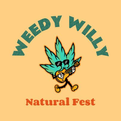 Music Festival Logo Template Featuring a Weed Cartoon 3735n