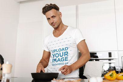 T-Shirt Mockup of a Man Cooking at Home 34850-r-el2
