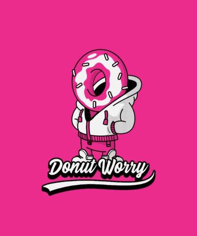 T-Shirt Design Template Featuring a Donut Cartoon Character 3006e-el1