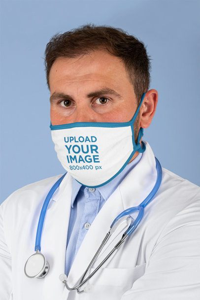 Mockup of a Doctor Wearing a Sublimated Face Mask 209