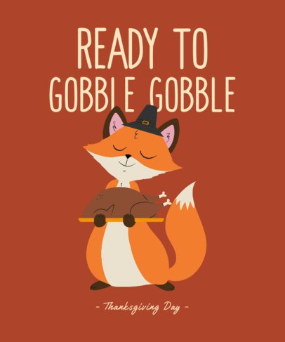 Illustrated T-Shirt Design Maker for Children with a Thanksgiving Character 3009e
